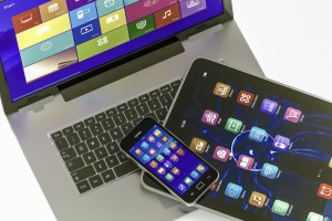 laptop digital tablet and smart phone.the photo on the laptop screen form my portfolio.3D rendering high quality.